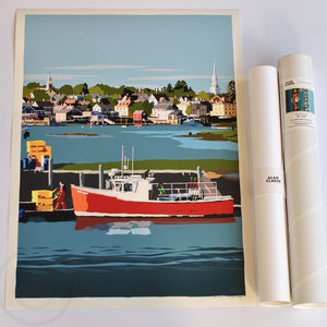 "Red Lobster Boat Art Print 18"" x 24"" Wall Poster - New Hampshire"