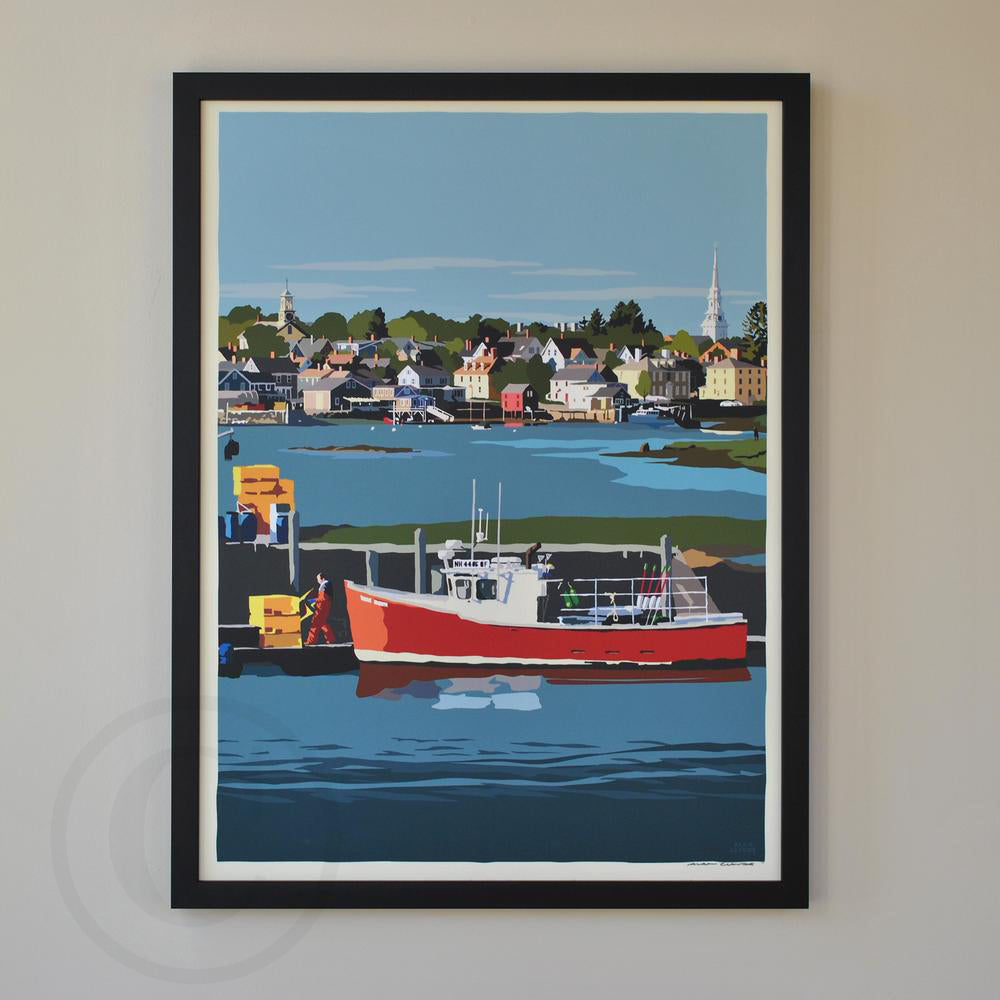 "Red Lobster Boat Art Print 18"" x 24"" Framed Wall Poster - New Hampshire"
