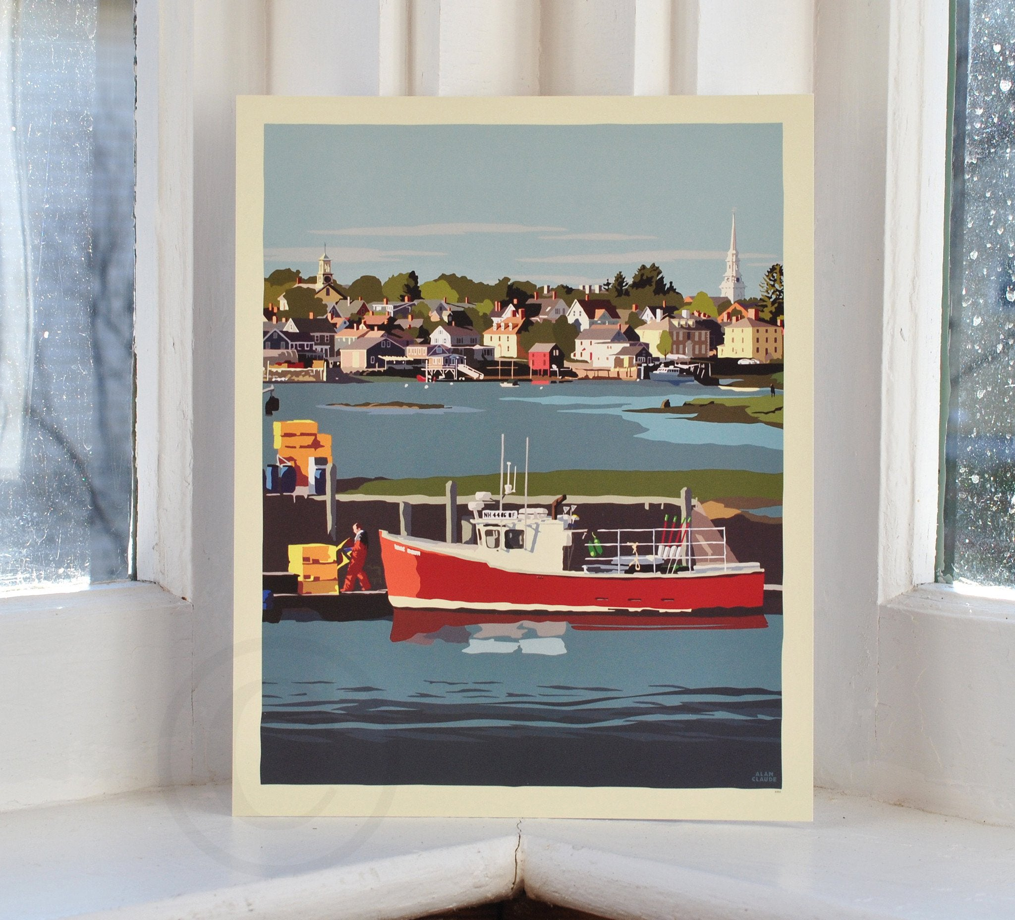 "Red Lobster Boat Art Print 8"" x 10"" Wall Poster - New Hampshire"