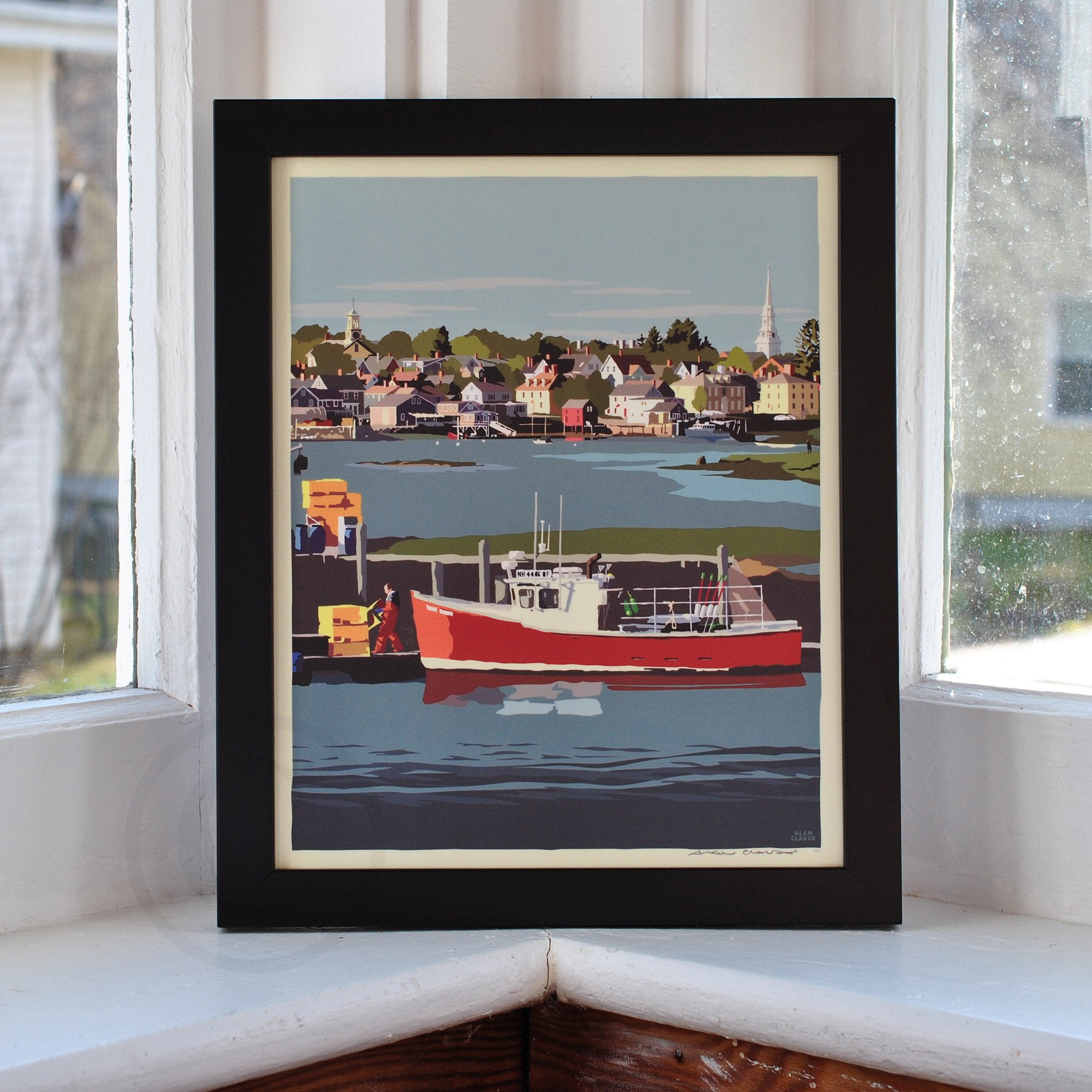 "Red Lobster Boat Art Print 8"" x 10"" Framed Wall Poster - New Hampshire"