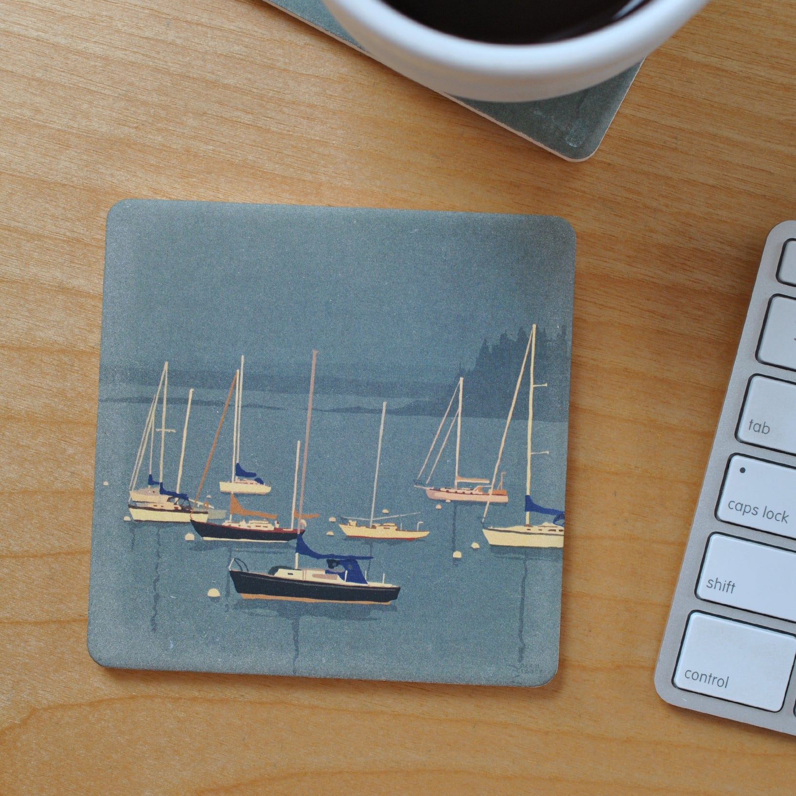 Sailboats In Rockland Harbor Black Sailboat Art Drink Coaster - Maine