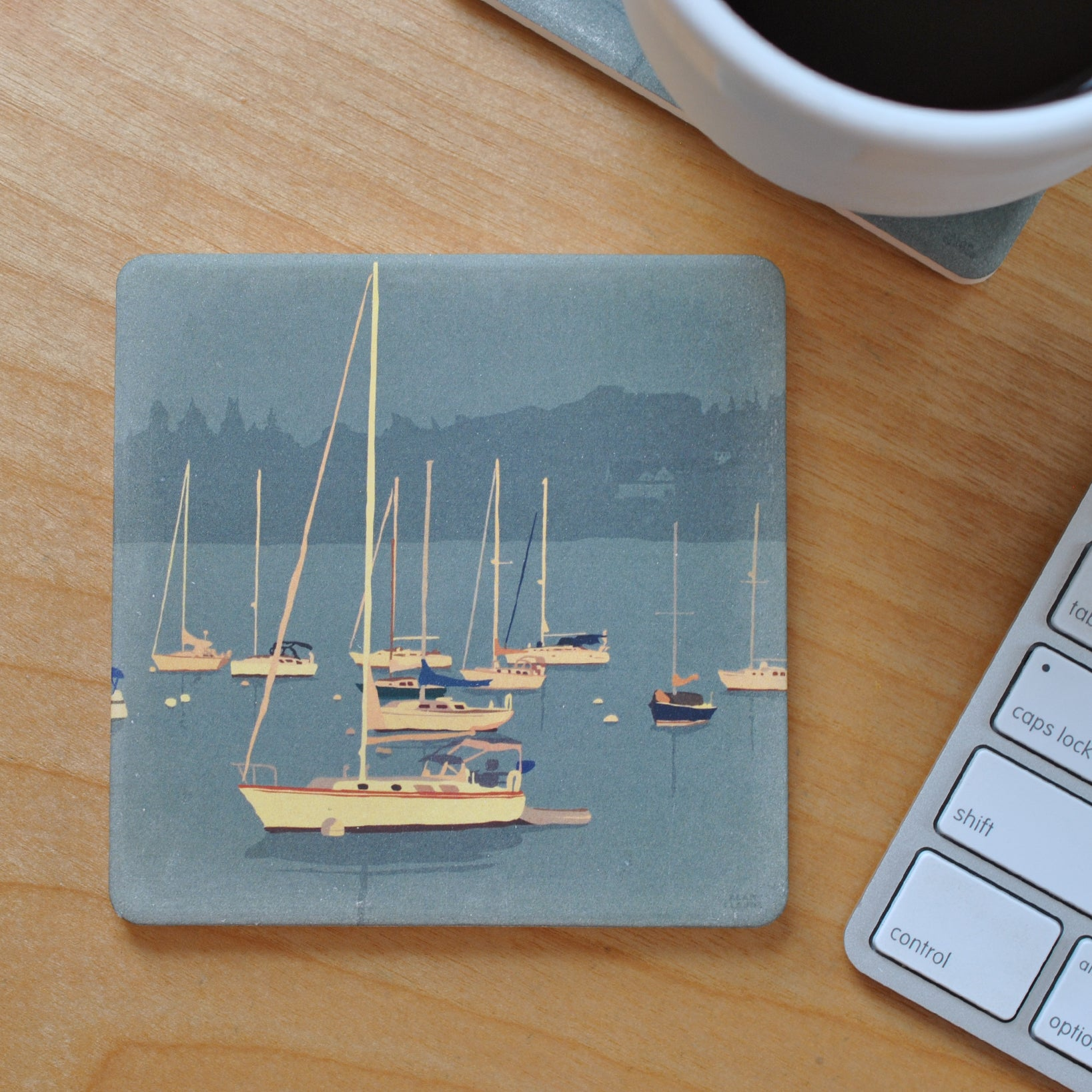 Sailboats In Rockland Harbor Golden Sailboat Art Drink Coaster - Maine - SOLD OUT