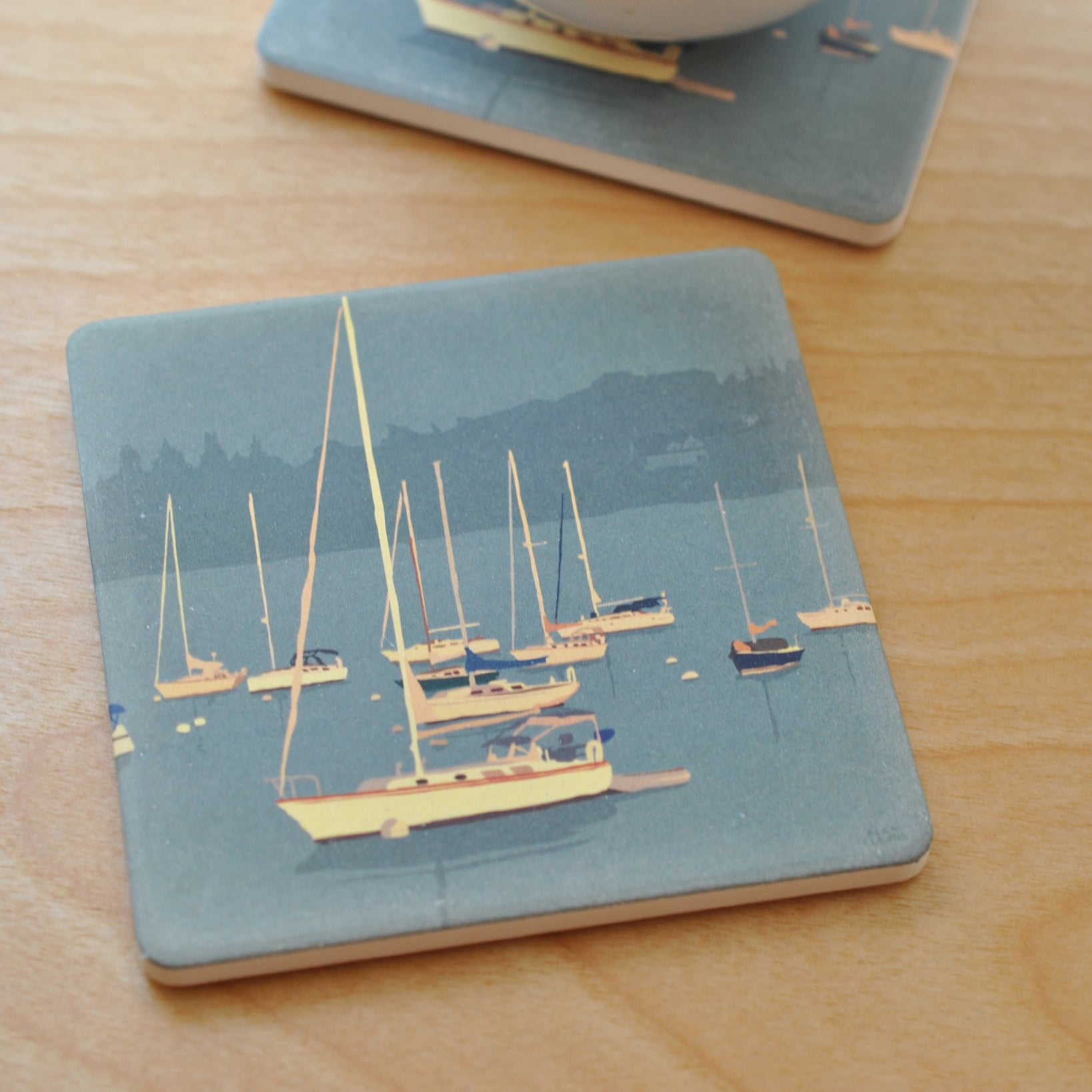 Sailboats In Rockland Harbor Golden Sailboat Art Drink Coaster - Maine