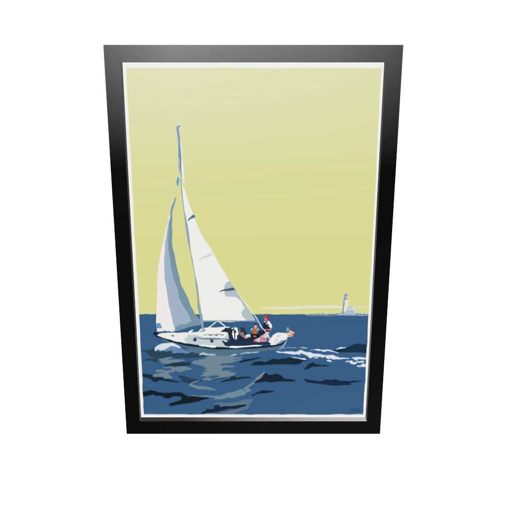 "Sailing Half Way Rock Light Art Print 24"" x 36"" Framed Wall Poster - Maine"