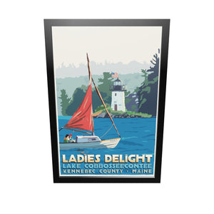 "Sailing Ladies Delight Art Print 24"" x 36"" Framed Travel Poster - Maine by Alan Claude"