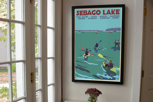 "Sebago Lake kayakers Art Print 24"" x 36"" Framed Travel Poster - Maine by Alan Claude"