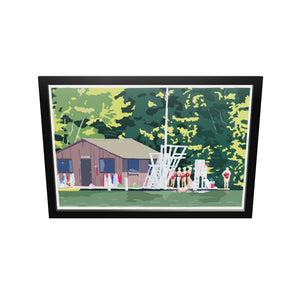 "Sebago Lake Swimmers Art Print (horizontal) 24"" x 36"" Framed Wall Poster- Maine"