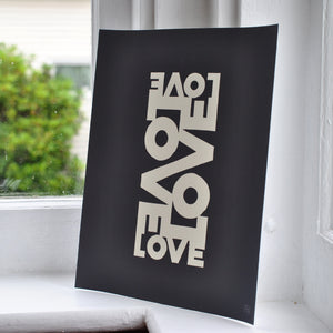"Love Energy - Graphite Art Print 8"" x 10"" Wall Poster"