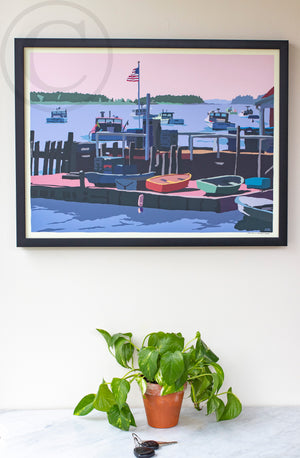 "Spruce Head Island Art Print 18"" x 24"" Framed Wall Poster - Maine"