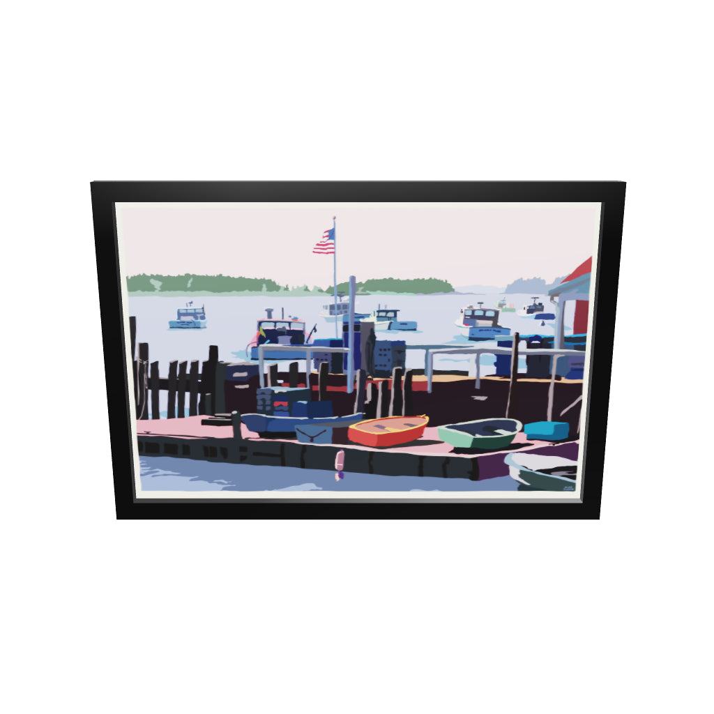 "Spruce Head Island Art Print 24"" x 36"" Framed Wall Poster - Maine by Alan Claude"