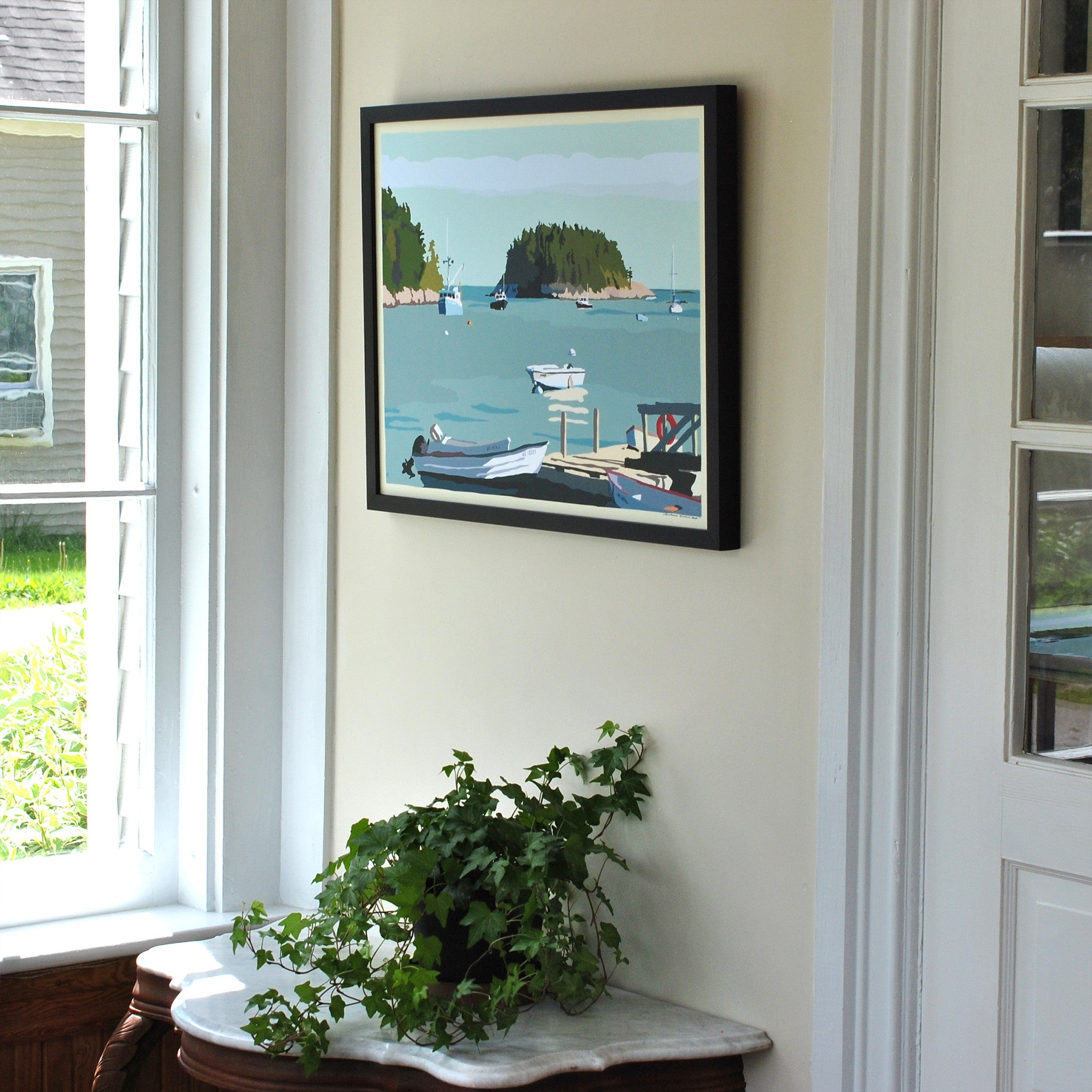 "I Am An Island - horizontal format - Art Print 18"" x 24"" Framed Wall Poster - Maine"