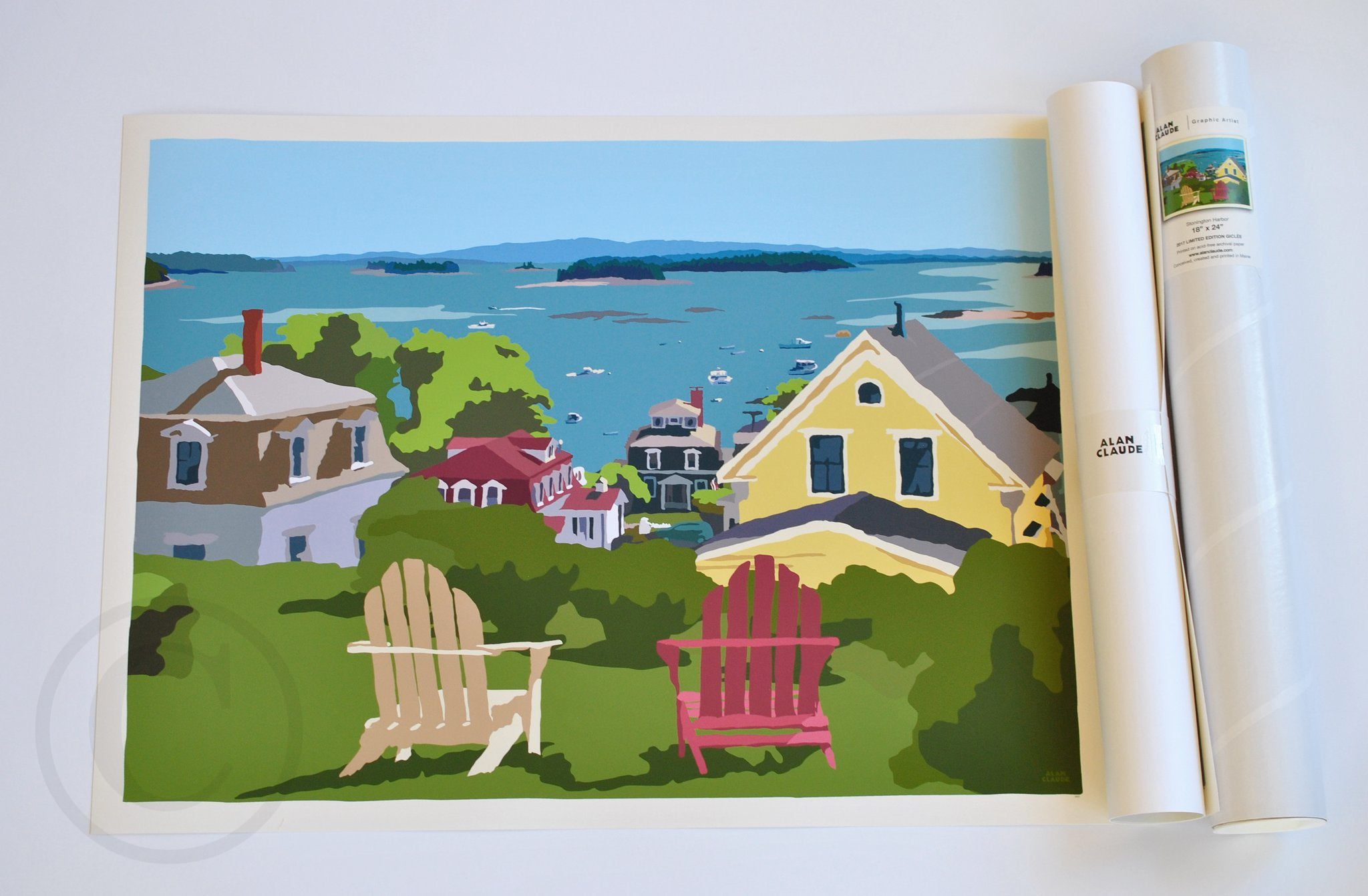 "Stonington Harbor Art Print 18"" x 24"" Wall Poster - Maine"