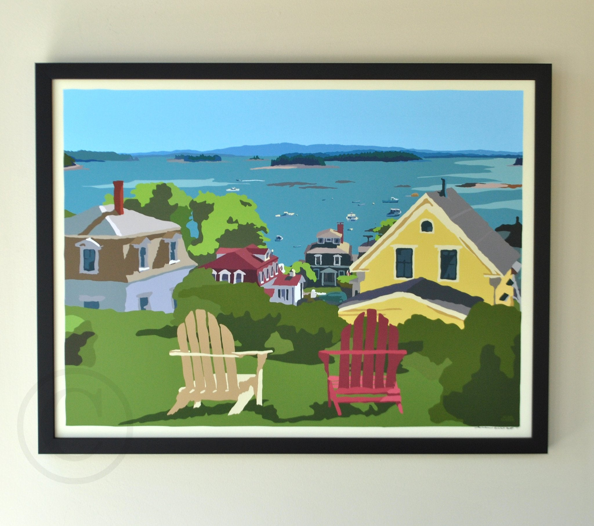 "Stonington Harbor Art Print 18"" x 24"" Framed Wall Poster - Maine"
