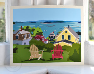 "Stonington Harbor Art Print 8"" x 10"" Wall Poster - Maine"