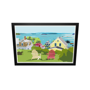 "Stonington Harbor Art Print 24"" x 36"" Framed Travel Poster - Maine"