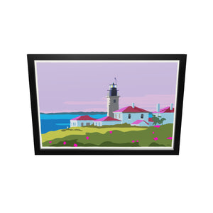"Sunrise At Beavertail Light Art Print 24"" x 36"" Framed Wall Poster - Rhode Island"