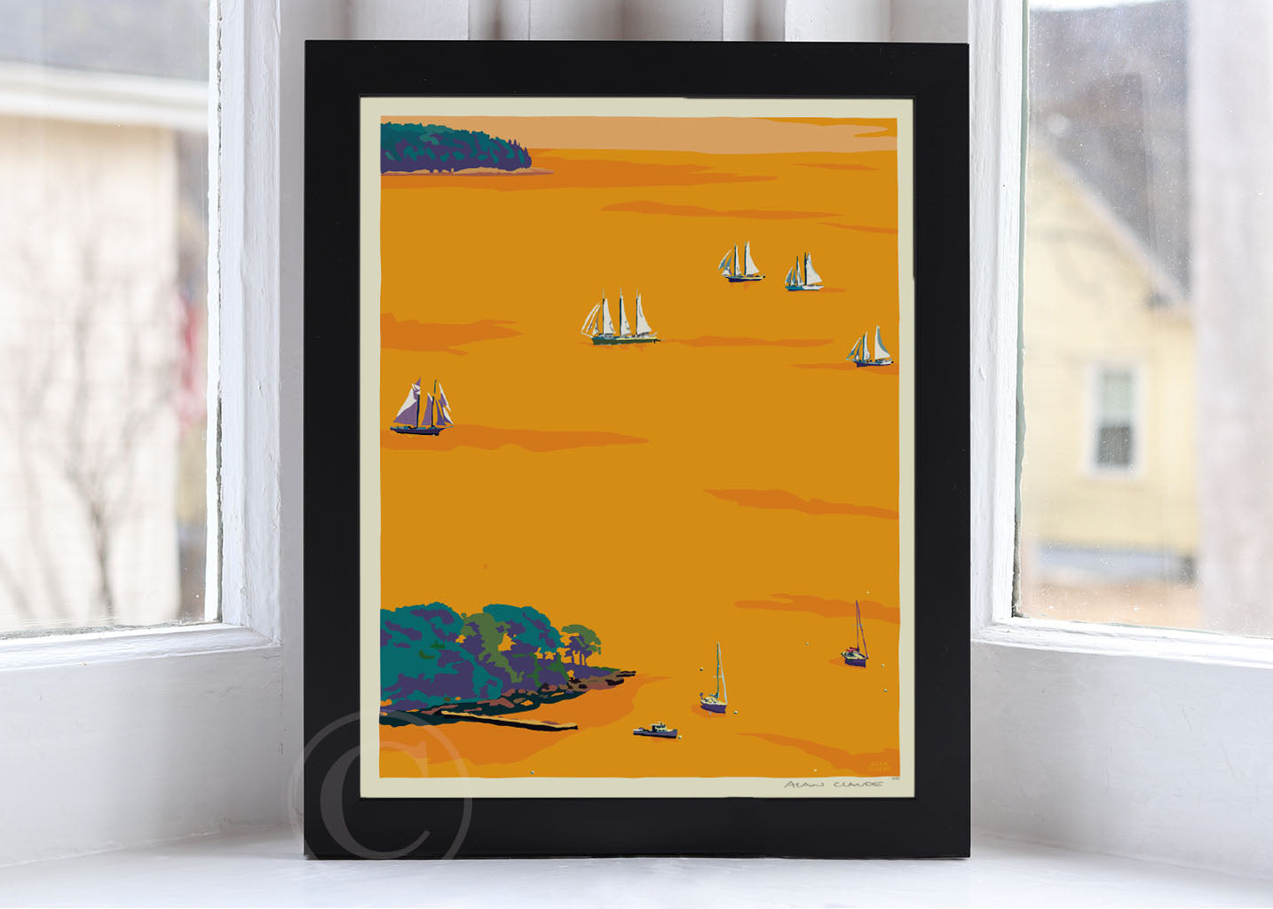 "Sunset Schooners in Camden Harbor Art Print 8"" x 10"" Framed Wall Poster By Alan Claude"