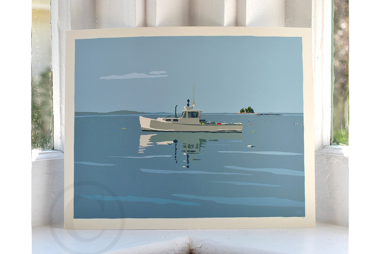 "Tranquility Lobster Boat Art Print 8"" x 10"" Wall Poster - Maine"