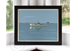 "Tranquility Lobster Boat Art Print 8"" x 10"" Framed Wall Poster - Maine"