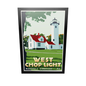"West Chop Light Art Print 24"" x 36"" Framed Travel Poster - Massachusetts"