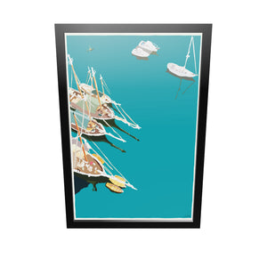 "Windjammers In Camden Harbor Art Print 24"" x 36"" Framed Wall Poster - Maine by Alan Claude"