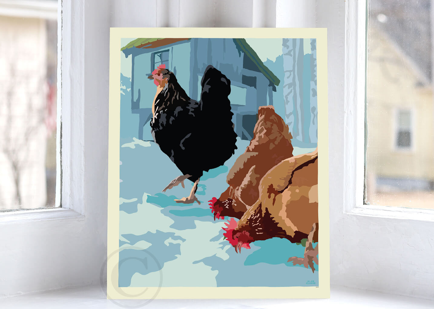 "Winter Chickens Art Print 8"" x 10"" Wall Poster By Alan Claude"