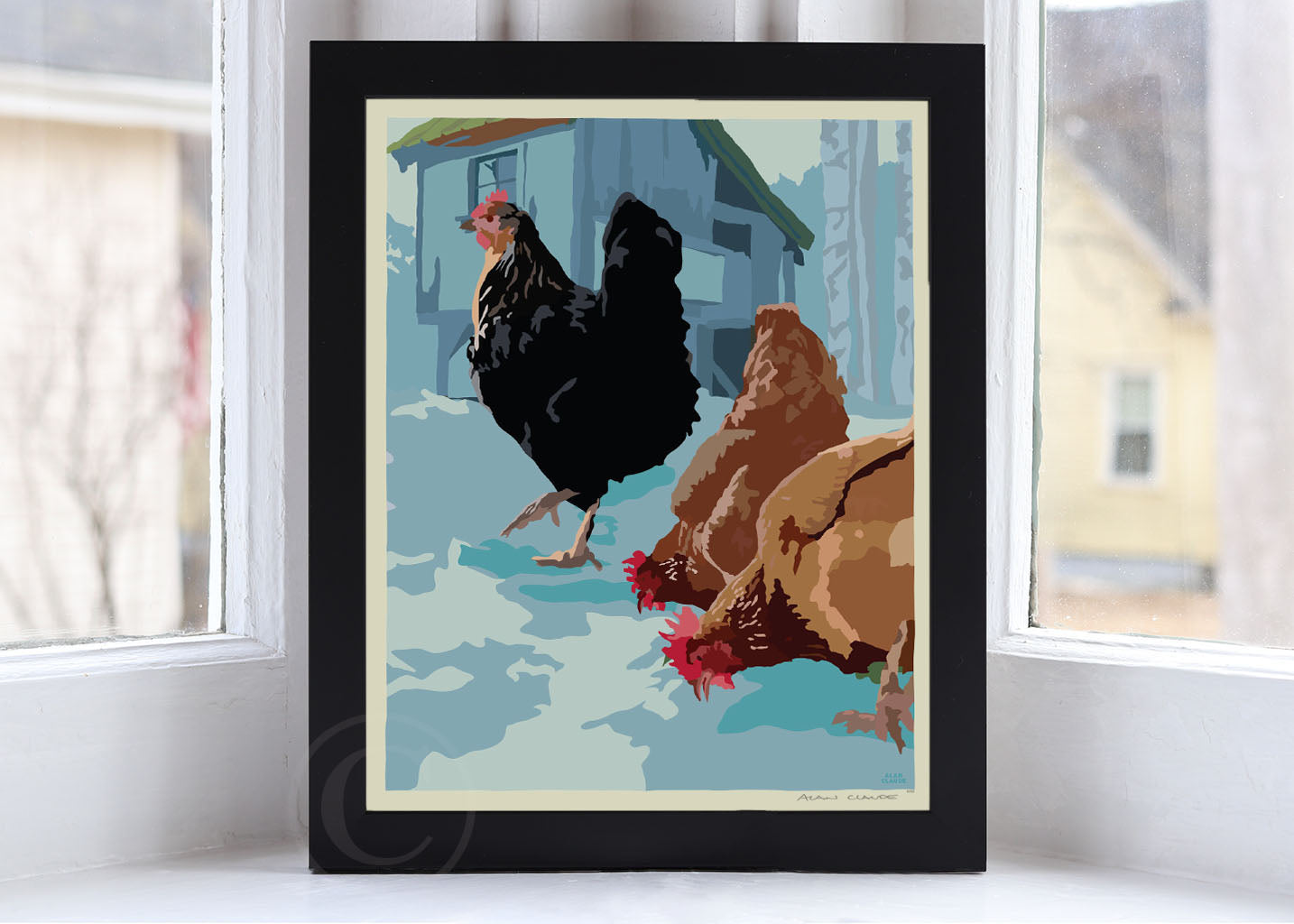 "Winter Chickens Art Print 8"" x 10"" Framed Wall Poster By Alan Claude"