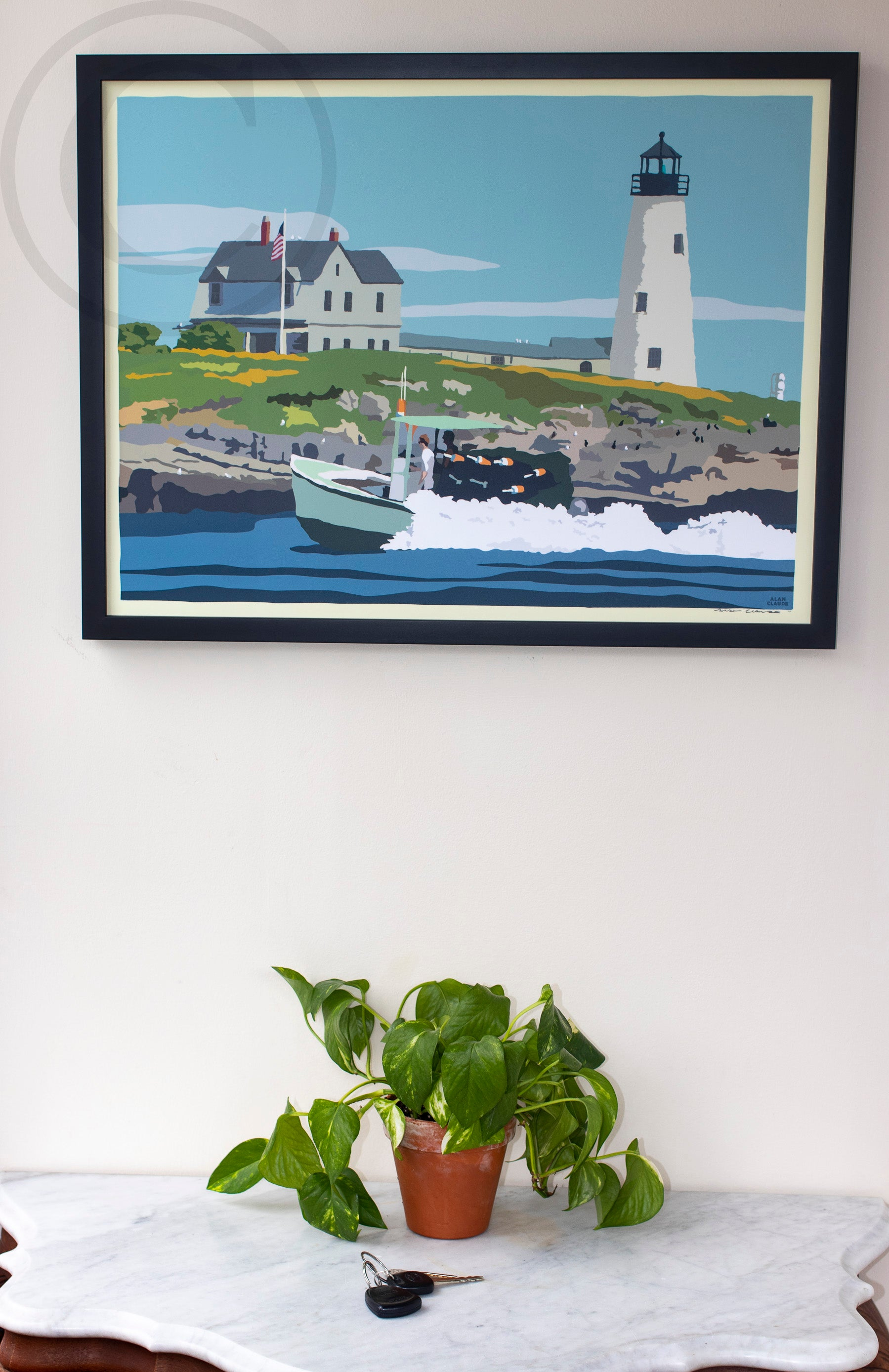 "Wood Island Light Art Print 18"" x 24"" Framed Wall Poster"