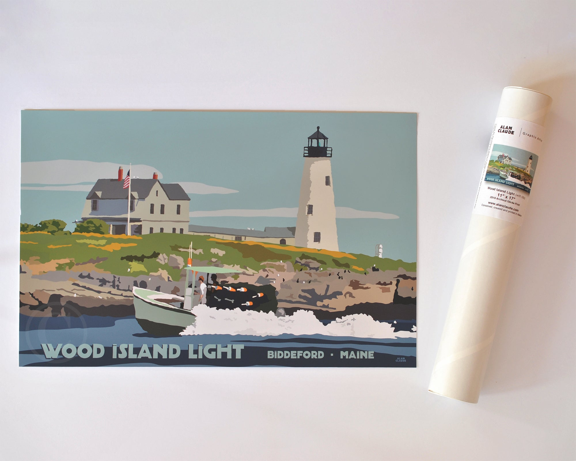 "Wood Island Light Travel Poster Art Print 11"" x 17"" Travel Poster - Maine"
