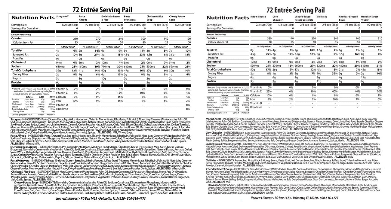 Heavens Harvest Entree Bucket Nutritional Facts