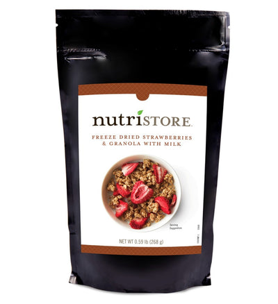 Nutristore™ Breakfast Granola With Strawberries and Milk