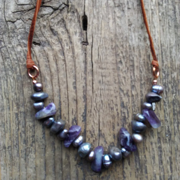 Little Tulsa Pearl and Amethyst Necklace