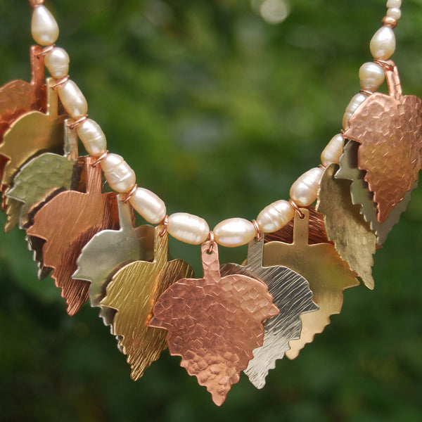 Hand Hammered Autumn Leaves and Pearls by Cherokee Copper