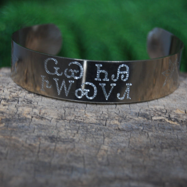 "*NEW* 5/8"" Wolf You Feed Cuff in German Siver"