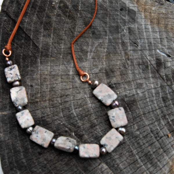 Square Cut Feldspar and Pearl Necklace.
