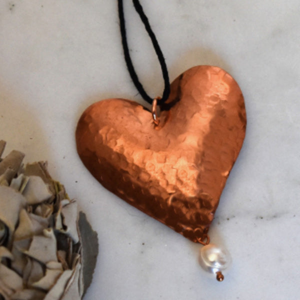 Copper  Heart and Pearl Pendant Necklace