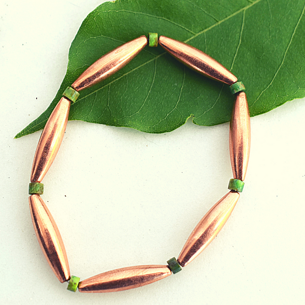 Tsegi Copper and Green Turquoise Bracelet