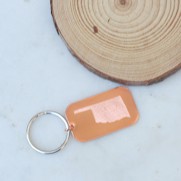 Oklahoma Keychain In Copper