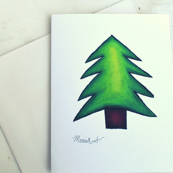 Pine Tree Noteard by Mesmoe Art