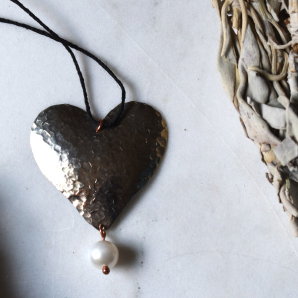 Silver  Heart and Pearl Pendant Necklace
