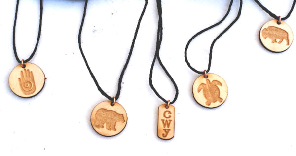 Usdi Engraved Wood Pendants by Cherokee Copper