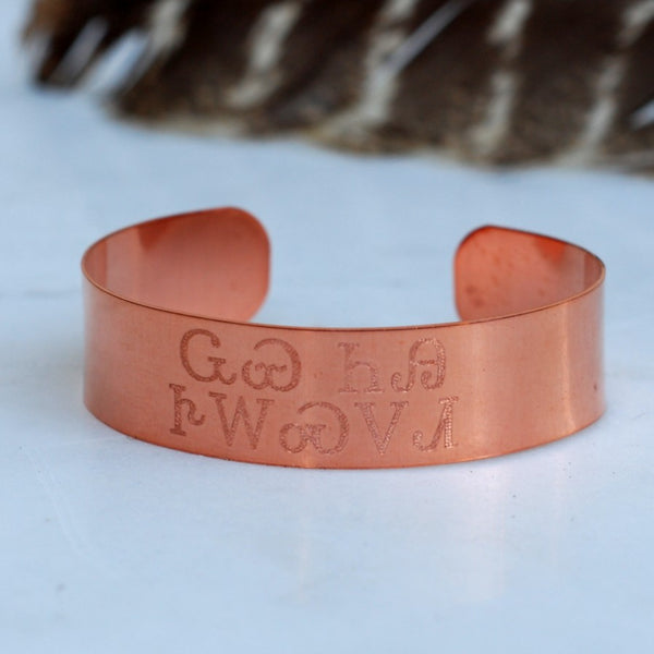 Wolf You Feed Cuff in Copper