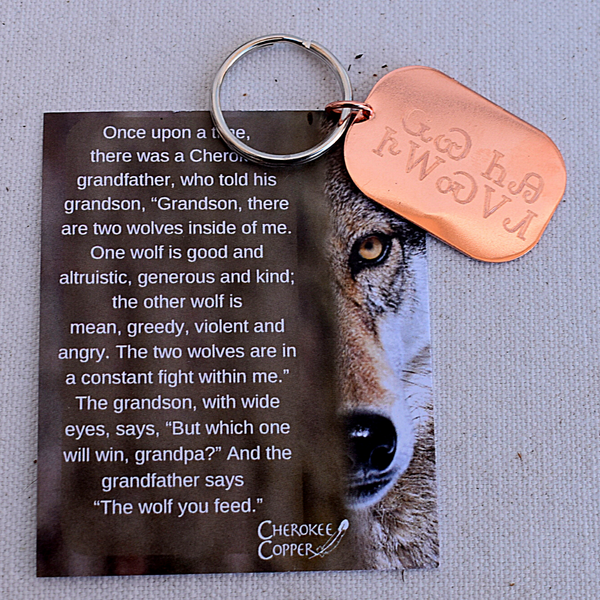 Wolf You Feed Keychain in Copper by Cherokee Copper
