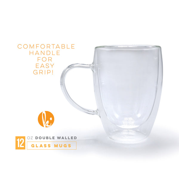 Double Walled Glass Coffee Mugs with Handle, 12oz
