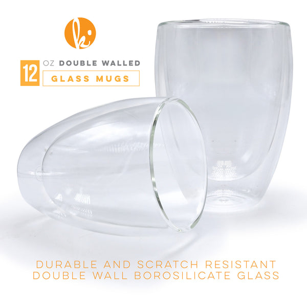 Double Walled Stackable Espresso Glasses, 12oz