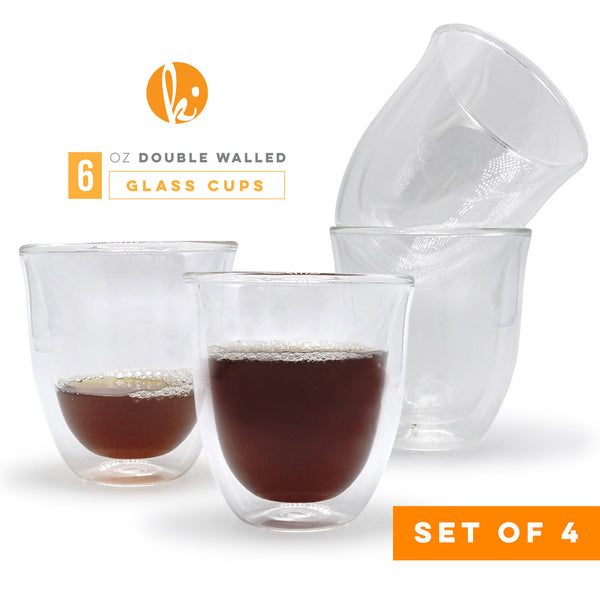 Double Wall Glass Cappuccino Cups, 6oz