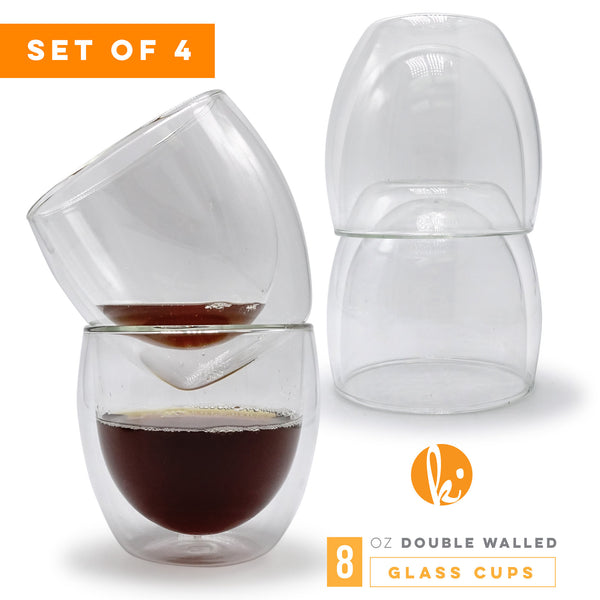 Double Wall Glass Coffee Mugs, 8oz