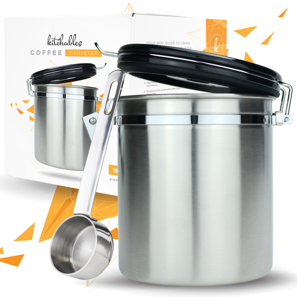 stainless steel coffee canister with airfresh valve technology