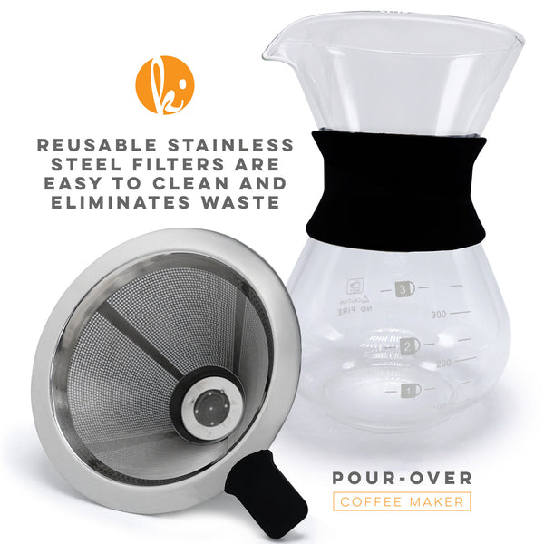 Hand Drip Pour Over Glass Coffee Maker (2 Cup)