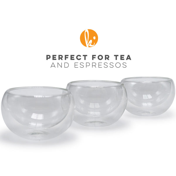 Glass Tea Cups - Double Wall Insulated Teacup